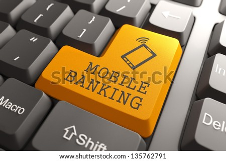 Mobile banking Concept. Orange Button on Computer Keyboard. 3D Render. - stock photo