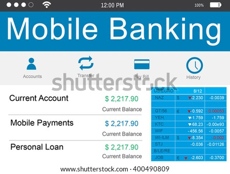 Mobile Banking Data Concept  - stock photo