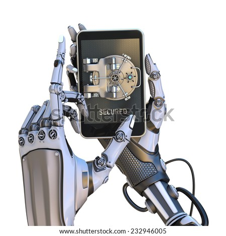 Mobile banking security design concept isolated on white. Smartphone with door of safe holding with robot hands - stock photo
