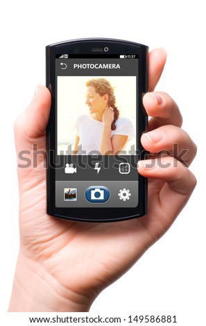 mobile camera interface on touch screen phone, cut out from white. - stock photo