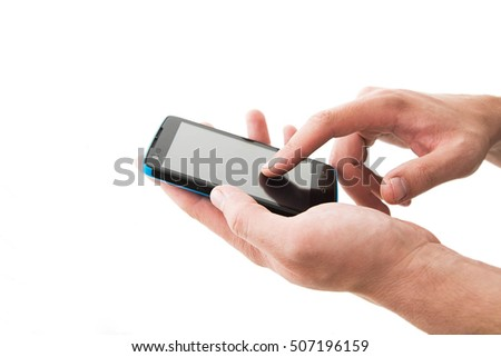 Mobile cell phone in man's hands isolated on white background. no face. unrecognizable person. telephone between fingers