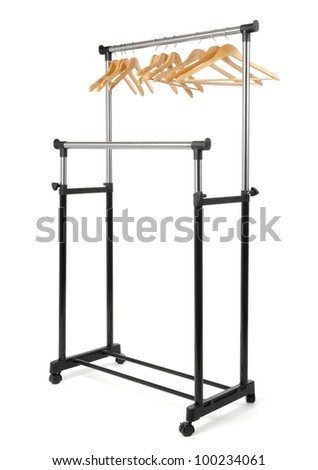 Mobile clothes rail with empty hangers on white background - stock photo