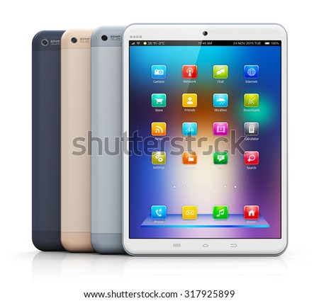 Mobile communication technology and mobility concept: group of modern touchscreen tablet PC computers with color business application interfaces isolated on white background with reflection effect - stock photo