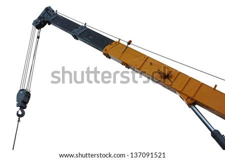 mobile crane boom isolated on white - stock photo