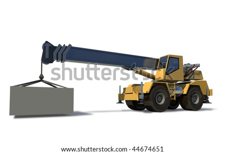 Mobile crane with a load on the jib crane. The cargo is ready for Drawing. White background. - stock photo