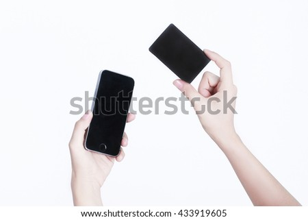 Mobile,Credit card on white background, equipment for e payment