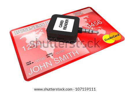 Mobile Credit Card reader on a white background. - stock photo