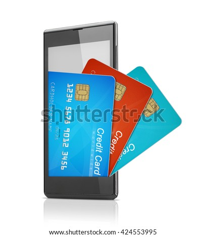 Mobile credit cards wallet - stock photo