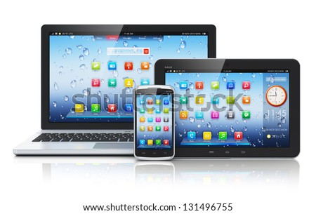 Mobile devices, mobility and telecommunication concept: business laptop or office notebook, tablet PC computer and smartphone with color interface with application icons isolated on white background - stock photo