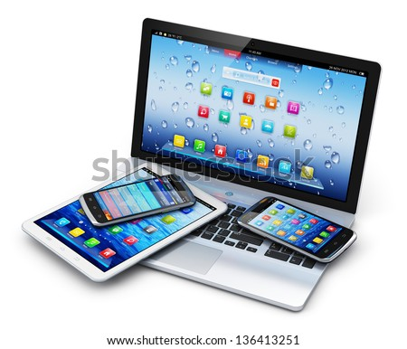 Mobile devices, wireless communication technology and internet web concept: business laptop or notebook, tablet computer PC and touchscreen smartphones with application interfaces isolated on white - stock photo