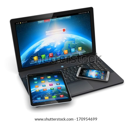 Mobile devices, wireless communication technology and internet web concept: business laptop, tablet computer and modern smartphone with colorful application interfaces isolated on white background - stock photo