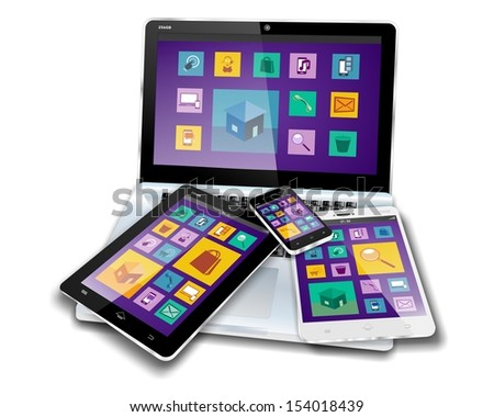 MOBILE DEVICES with flat design or metro design screen content on laptop, tablet pc, mini tablet or note pad and smartphone or cellphone - stock photo