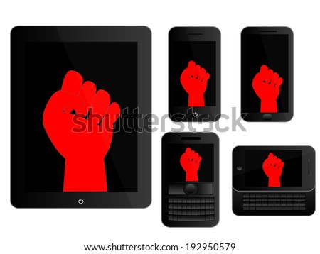 Mobile Devices with Red Protest Sign Black Icons - stock photo