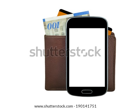 Mobile devise with wallet, money and credit card isolated on white background  - stock photo