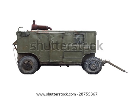 Mobile diesel power station on white background