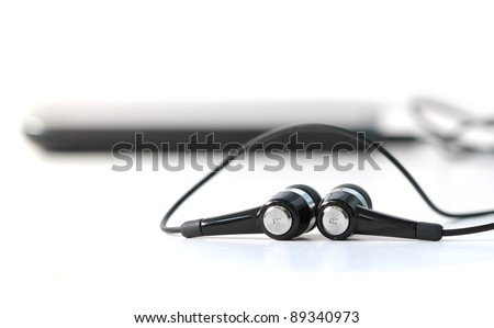 mobile ear phone isolate on white background - stock photo