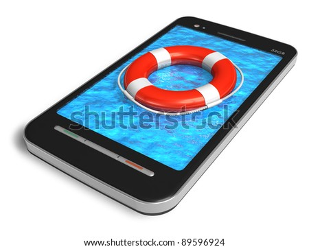 Mobile emergency service concept: touchscreen smartphone with lifesaver belt isolated on white background - stock photo
