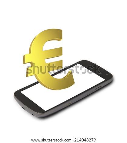Mobile euro income - stock photo