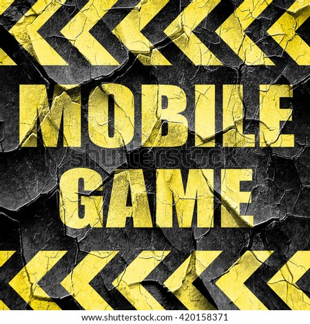mobile game, black and yellow rough hazard stripes - stock photo