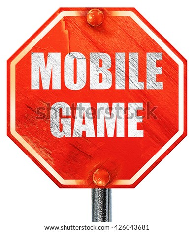 mobile game, 3D rendering, a red stop sign - stock photo