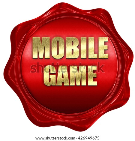 mobile game, 3D rendering, a red wax seal - stock photo
