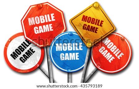 mobile game, 3D rendering, rough street sign collection - stock photo