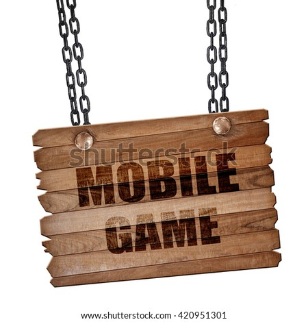 mobile game, 3D rendering, wooden board on a grunge chain - stock photo