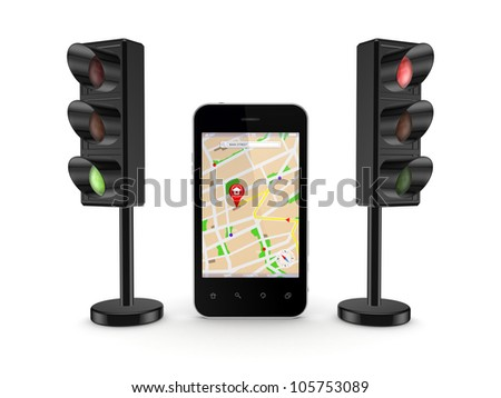 Mobile GPS concept.Isolated on white background.3d rendered. - stock photo