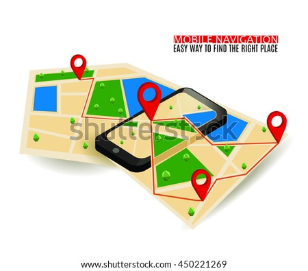 Mobile GPS navigation map and pin marker with modern digital device. Flat Isometric style. Infographic Concept Web Banner.
