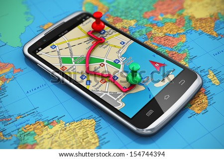 Mobile gps navigation travel tourism concept stock illustration mobile gps navigation travel and tourism concept macro view of modern black glossy touchscreen gumiabroncs Gallery