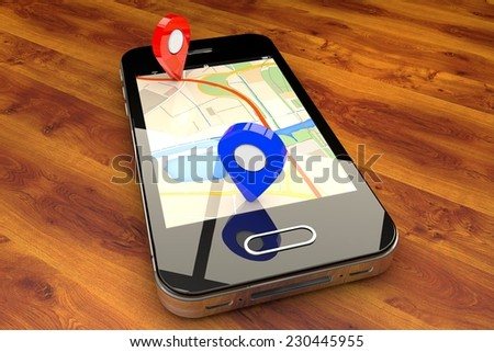 Mobile GPS navigation, travel and tourism concept: modern black glossy touchscreen smartphone with GPS navigation application and group of pushpins on world map  - stock photo