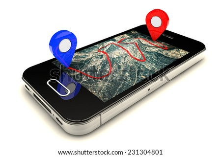 Mobile GPS navigation,travel and tourism concept:modern black glossy touchscreen smartphone with GPS navigation application and group of pushpins on world map.Elements of this image furnished by NASA