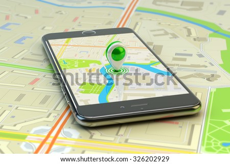Mobile gps navigation, travel destination, location and positioning concept, smartphone with city map application and marker pin pointer on phone screen - stock photo