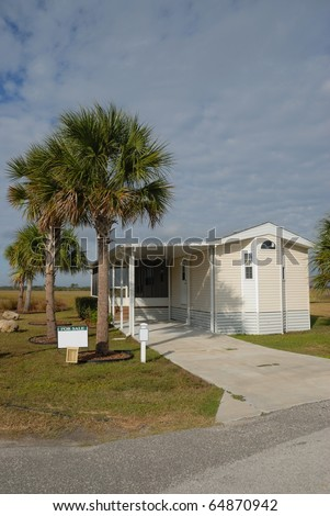 mobile home for sale at camping ground resort st. augustine florida - stock photo