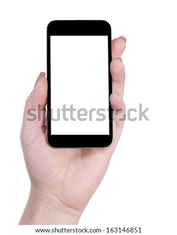 mobile in delicate female hand isolated white background