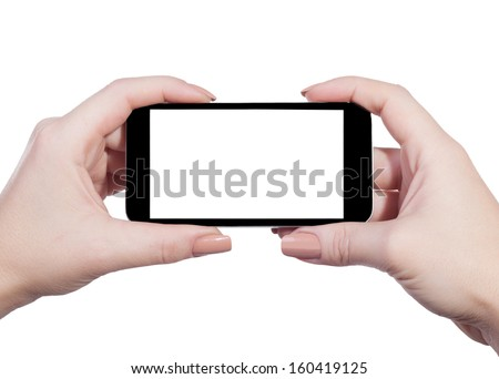 mobile in female hands on an isolated white background - stock photo