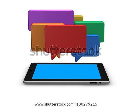 mobile internet communication concept illustration with chat colorful bubbles - stock photo