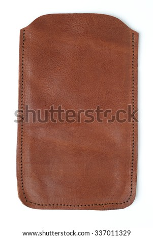 mobile leather case isolated on white