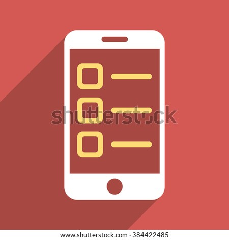 Mobile List long shadow glyph icon. Style is a flat light symbol on a red square background. - stock photo