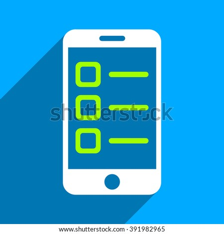 Mobile List long shadow glyph icon. Style is a flat mobile list iconic symbol on a blue square background. - stock photo