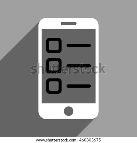 Mobile List long shadow icon. Style is a flat mobile list black and white iconic symbol on a gray square background. - stock photo