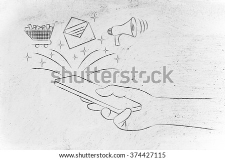 mobile marketing: smartphone with email, shopping cart & megaphone coming out of the screen - stock photo