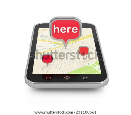 Mobile navigation or travel planning concept illustration. Smartphone with 3d pin on white. - stock photo