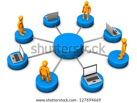 Mobile network with laptops and orange toons. - stock photo