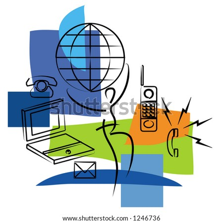 Mobile networking illustration - stock photo