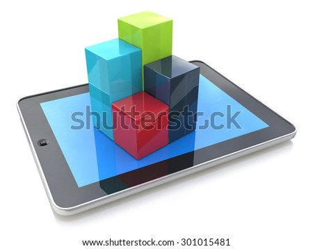 Mobile office: computer tablet showing 3d charts  - stock photo