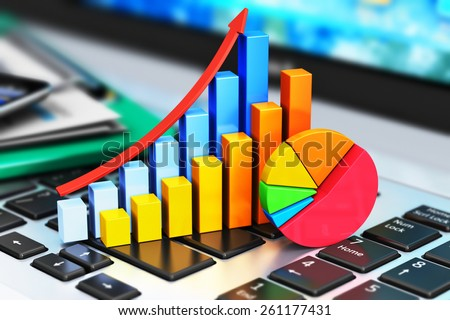 Mobile office, stock exchange market trading, statistics accounting, financial development and banking business concept: bar chart and pie diagram on laptop keyboard and other stationery supplies - stock photo