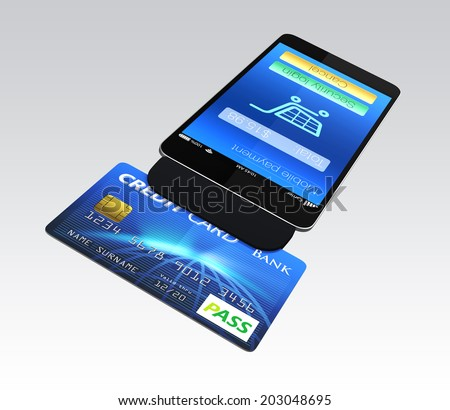Mobile payment concept. Credit card reader on smartphone scanning a credit card. - stock photo