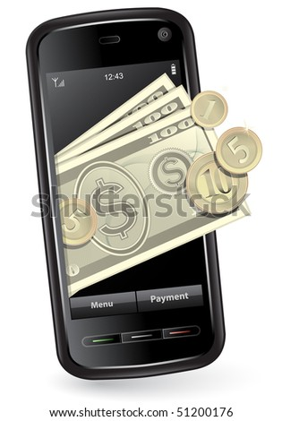 Mobile payment concept. Mobile phone with money. Raster version of vector illustration - image #45586804 - stock photo