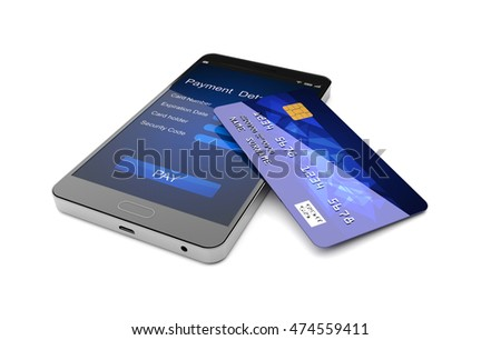 Mobile payment concept, Smartphone with credit card. 3D illustration
